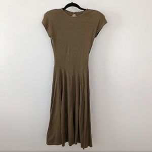 90s VTG ALL THAT JAZZ olive green dress SMALL